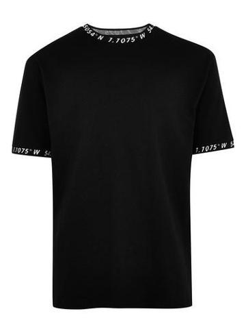 Topman Mens Black And White Jacquard 'hyke' T-shirt