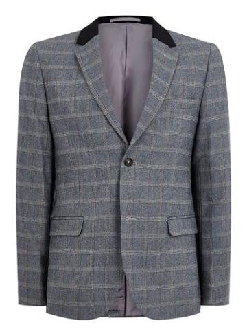 Topman Mens Wool Blend Gray And Blue Check Blazer