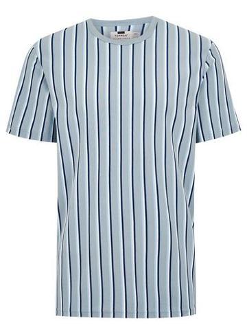 Topman Mens Navy Blue Striped Crew Neck T-shirt