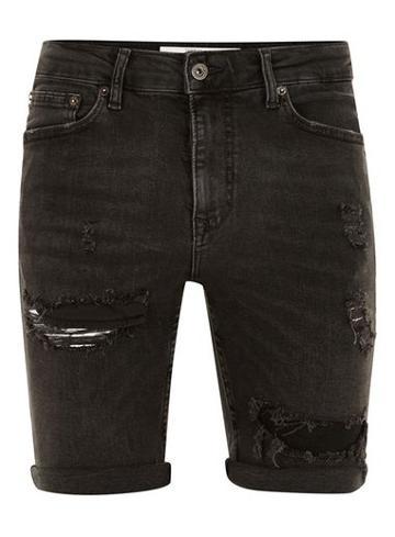 Topman Mens Black Ripped Spray On Denim Shorts