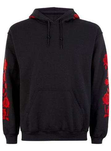 Topman Mens Black And Red Rose Hoodie