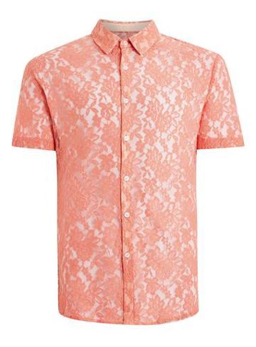 Topman Mens Multi Rose Lace Short Sleeve Shirt