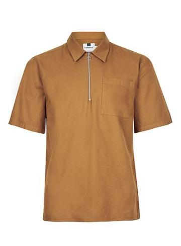 Topman Mens Brown Tan Short Sleeve Half Zip Shirt