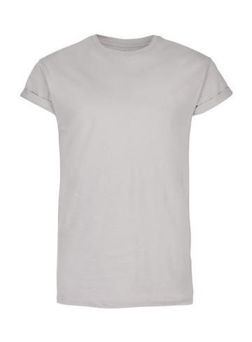 Topman Mens Grey Light Gray Muscle Fit Roller T-shirt