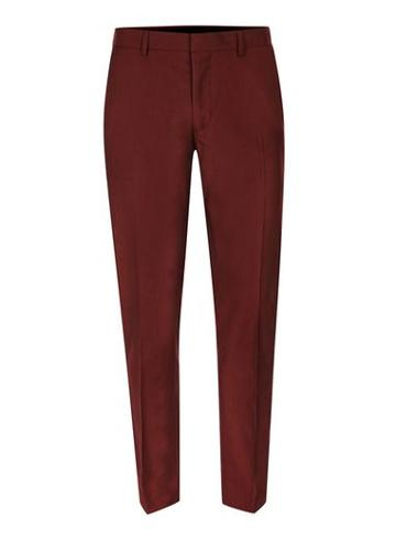 Topman Mens Burgundy Skinny Fit Suit Pants