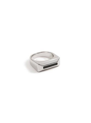 Topman Mens Black Silver Block Ring*