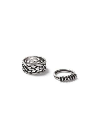 Topman Mens Brushed Silver Look Knot Ring 2 Pack*