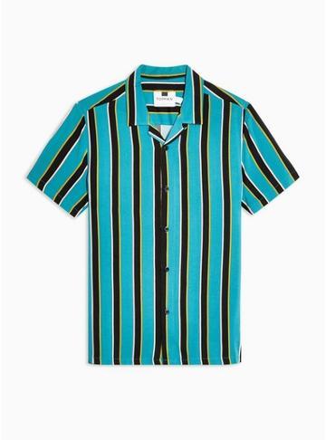 Topman Mens Multi Teal Block Stripe Revere Shirt