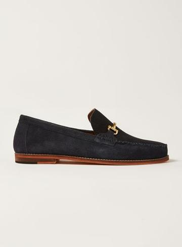 Topman Mens Navy Suede Larry Snaffle Loafers