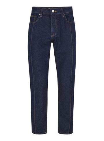 Topman Mens Blue Indigo Front Seam Tapered Jeans