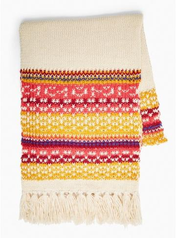 Topman Mens Christmas Multicoloured Fair Isle Scarf