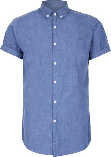 Topman Mens Blue Navy Marl Short Sleeve Dress Shirt