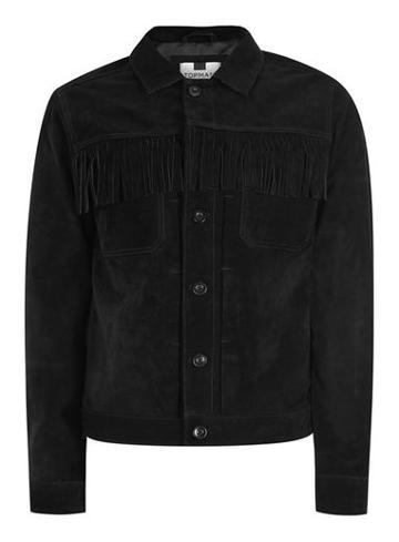Topman Mens Black Suede Fringe Western Jacket