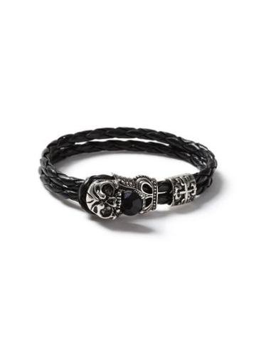 Topman Mens Black Faux Leather Skull Bracelet*