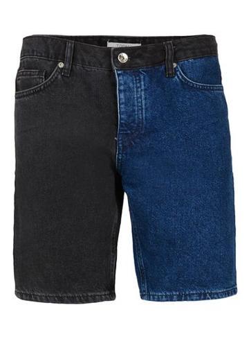 Topman Mens Blue Indigo And Black Spliced Slim Denim Shorts