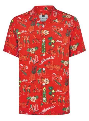 Topman Mens Red Hawaiian Short Sleeve Shirt