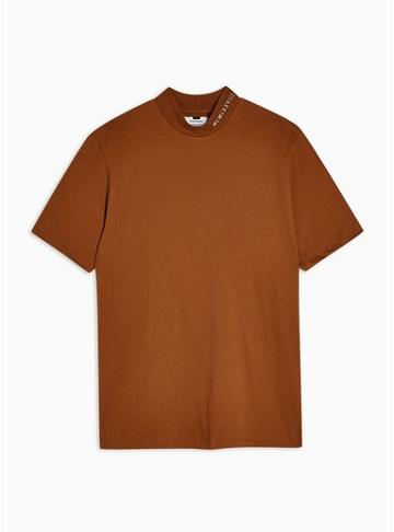 Topman Mens Brown Embroidered Turtle Neck T-shirt