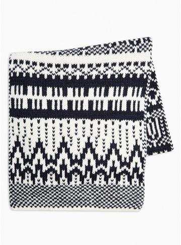 Topman Mens Christmas Navy And White Fair Isle Scarf