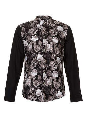 Topman Black Roses Contrast Long Sleeve Smart Shirt