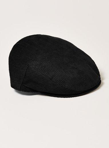 Topman Mens Black Corduroy Flat Cap