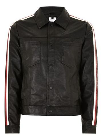 Topman Mens Black Side Stripe Faux Leather Jacket