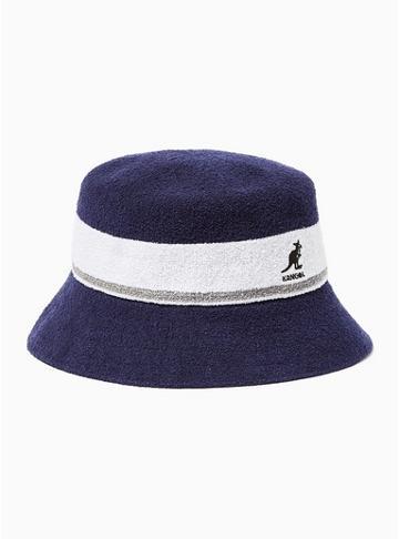 Topman Mens Kangol Navy And White Stripe Bucket Hat