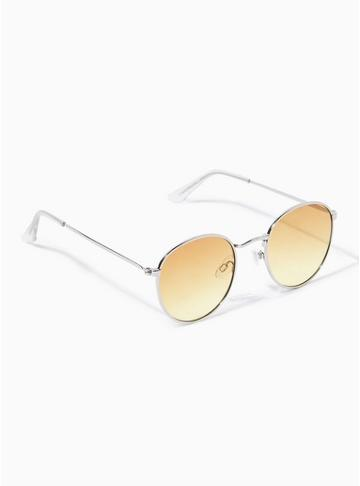 Topman Mens Silver And Yellow Round Sunglasses