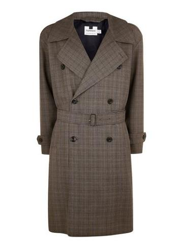Topman Mens Brown Check Oversized Double Breasted Jacket
