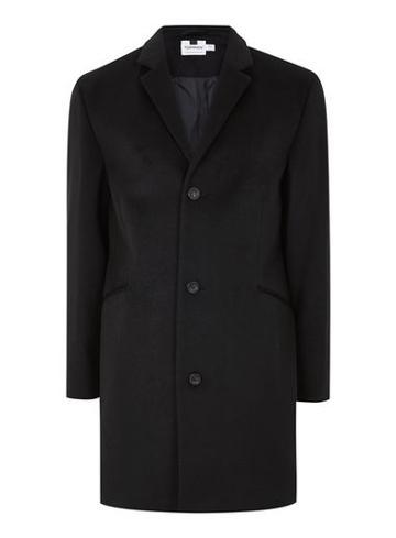 Topman Mens Black Overcoat Containing Wool