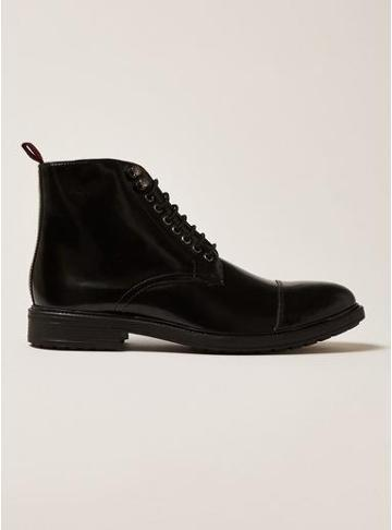 Topman Mens Black Leather Baron Lace Up Boots