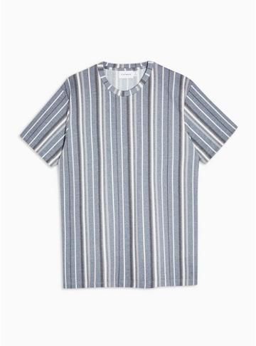 Topman Mens Navy Stripe Knitted T-shirt