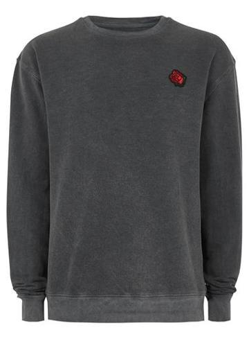 Topman Mens Grey Washed Gray Rose Sweatshirt