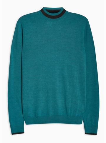 Topman Mens Green Teal Merino Tipped Turtle Neck Sweater