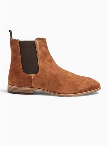 Topman Mens Brown Tan Suede Fenn Chelsea Boots