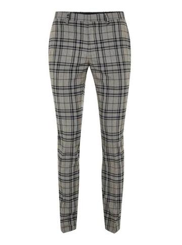 Topman Mens Multi Gray Navy Check Ultra Skinny Pants
