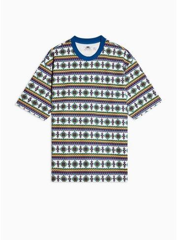Topman Mens Orange Printed Short Sleeve Sweatshirt