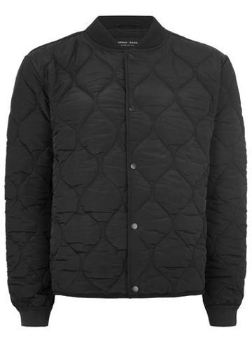Topman Mens Topman Design Black Quilted Bomber Jacket