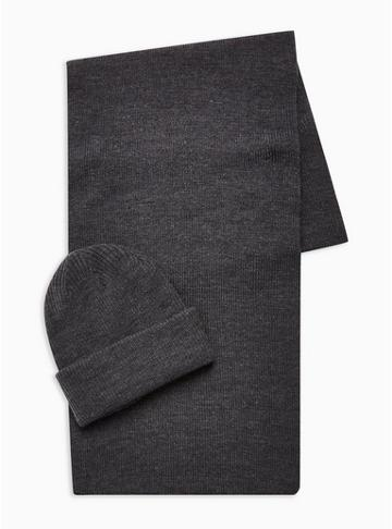 Topman Mens Grey Ribbed Beanie And Scarf 2 Pack
