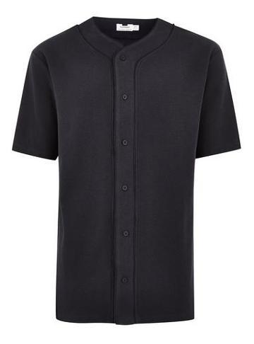 Topman Mens Washed Black Waffle Baseball T-shirt