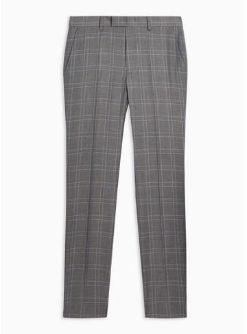 Topman Mens Grey Gray And Blue Check Skinny Fit Suit Pants