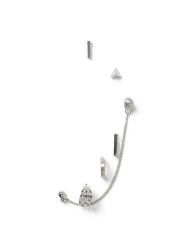 Topman Mens Silver Look Chain Earrings Multipack*