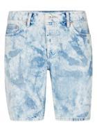 Topman Mens Light Blue Bleach Wash Blue Slim Denim Shorts