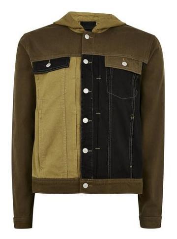 Topman Mens Green Hooded Denim Jacket