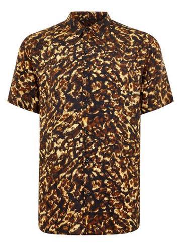 Topman Mens Multi Leopard Print Short Sleeve Shirt