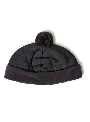Topman Mens Grey Pinstripe Bobble Beanie Hat