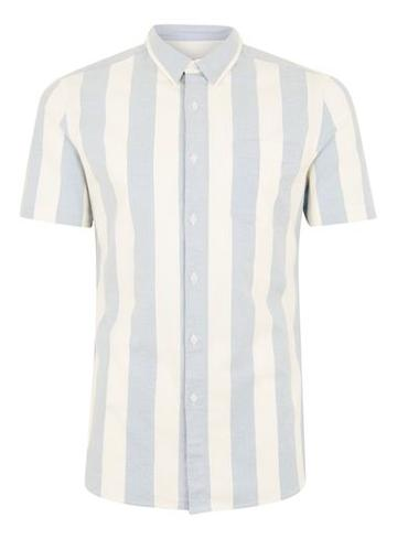 Topman Mens Blue And White Muscle Stripe Short Sleeve Shirt