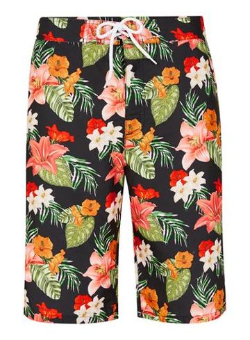 Topman Mens Black Hawaiian Floral Board Shorts