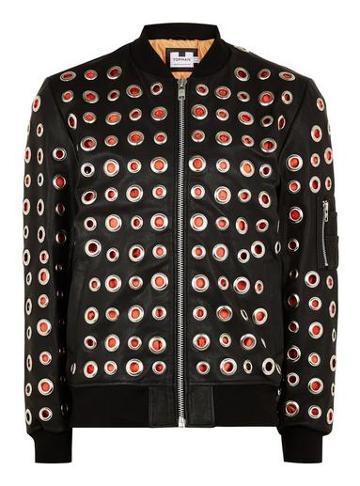 Topman Mens Black Leather Bomber Jacket