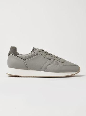 Topman Mens Grey Nicce's Gray Leather Panacea Sneakers