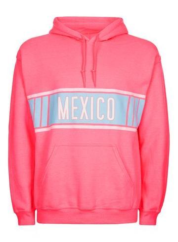 Topman Mens Topman Design Bright Pink Mexico Hoodie